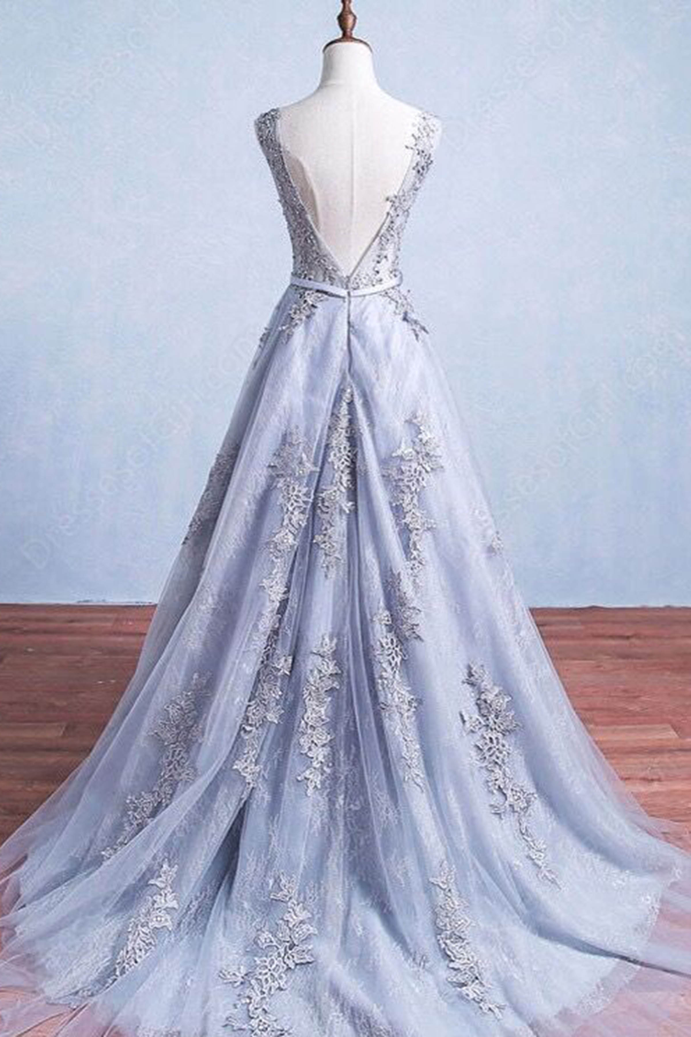 e88ce60b5f7 Glamorous A-Line Round Neck Gray Tulle Long Prom Dress on Storenvy