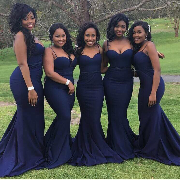 Navy Blue Bridesmaid Dresses,Mermaid Bridesmaid