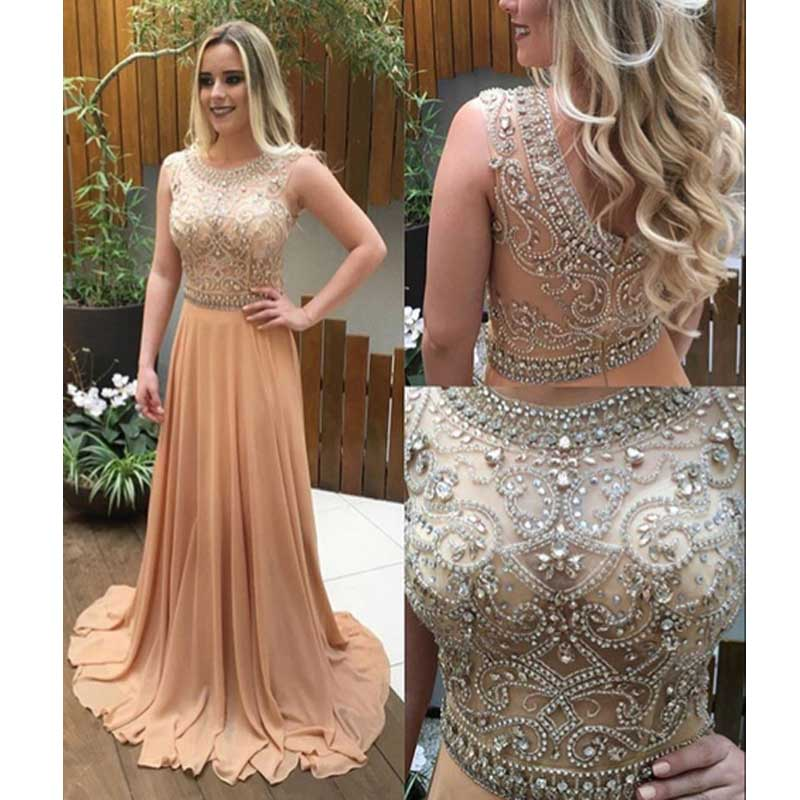 2d9a4ba44380 Long Champagne prom dresses, Custom prom dresses,See through beaded prom  dress, prom