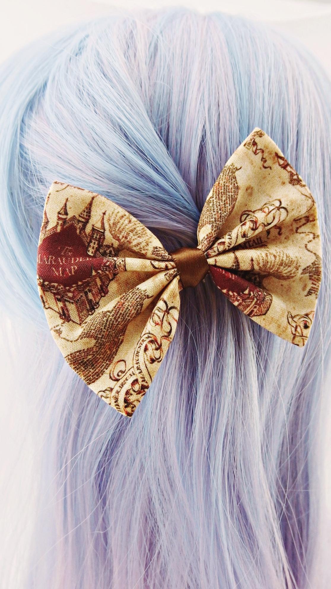 Beautiful Handmade 5 Inch Spooky Harry Potter Hogwarts Marauders Map Hair Bow
