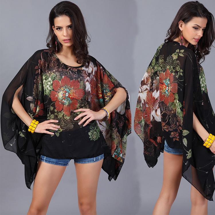 94857a4c7742d4 plus size women top flower printed chiffon cloak short sleeves oversize top  summer on Storenvy