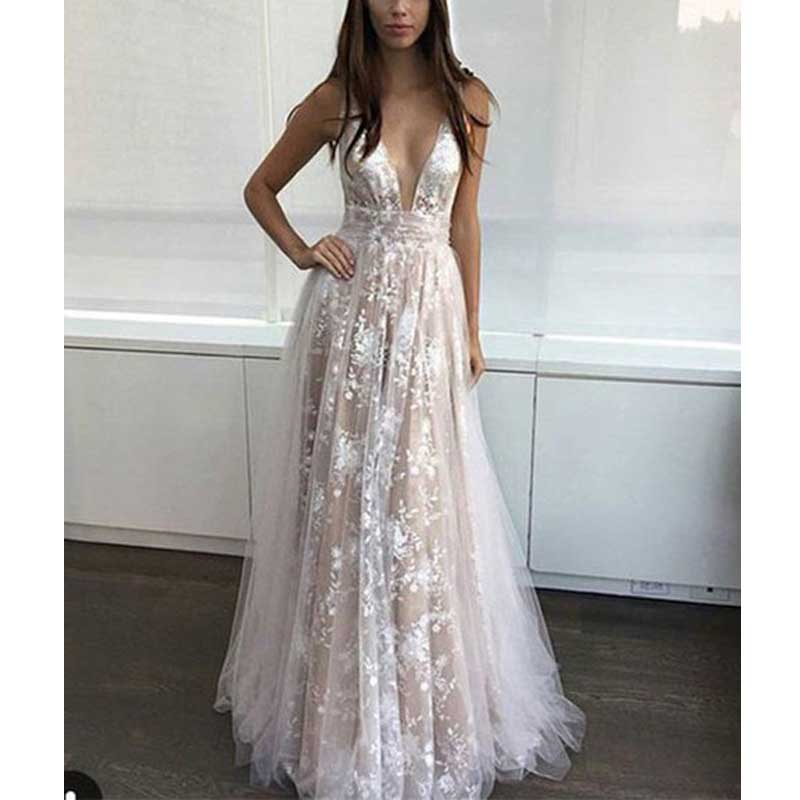 73deaa841d Sexy Deep V-Neck Long Champagne Lace Prom Dresses on Storenvy