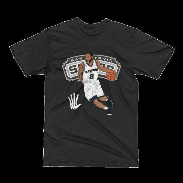 Image of Kawhi Ball Up Spurs T-Shirt (Black, Grey, Blue)