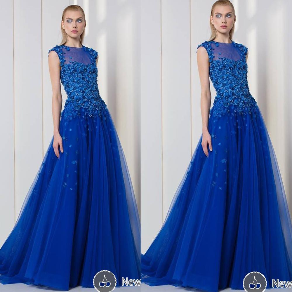 Royal Blue Evening Dresses, Sheer Crew Neckline Prom Dress, Fashion ...