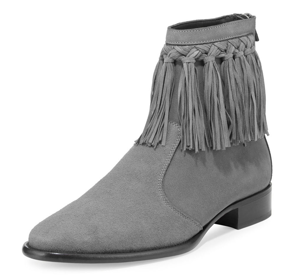 Handmade Gray Fringe Ankle Boots, Men Leather Gray Ankle Boots