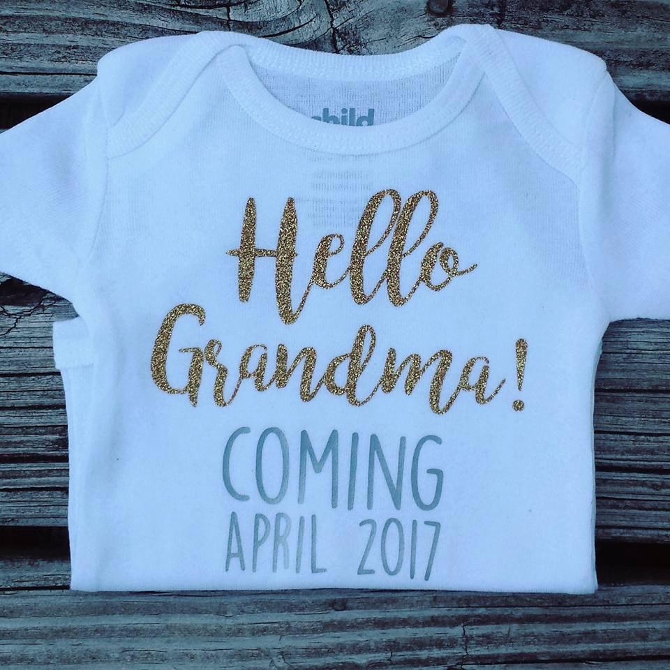 Pregnancy Announcement Onesie Hello Grandma Hello