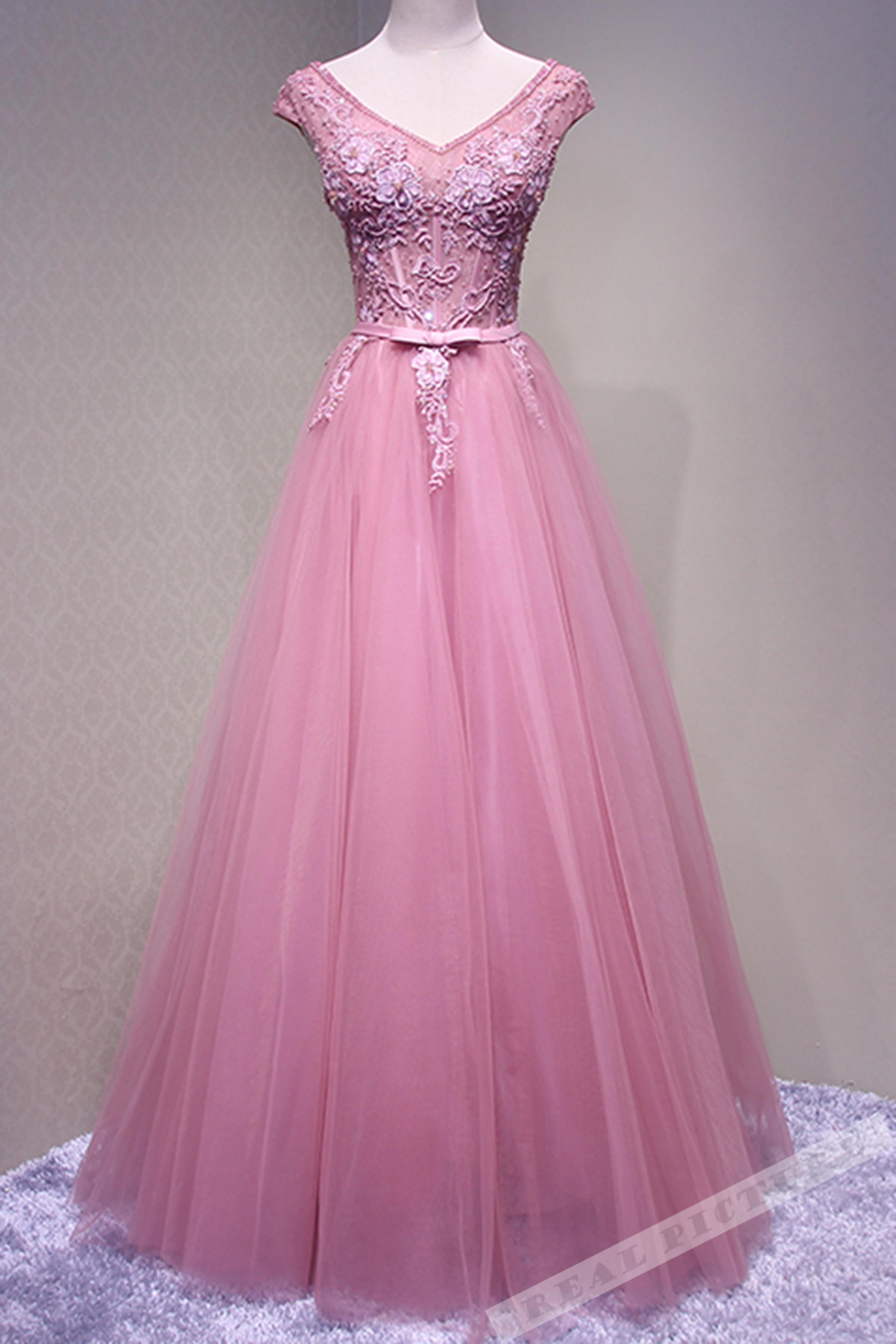e6b4c71dd37b Pink tulle lace applique round neck A-line long prom dress