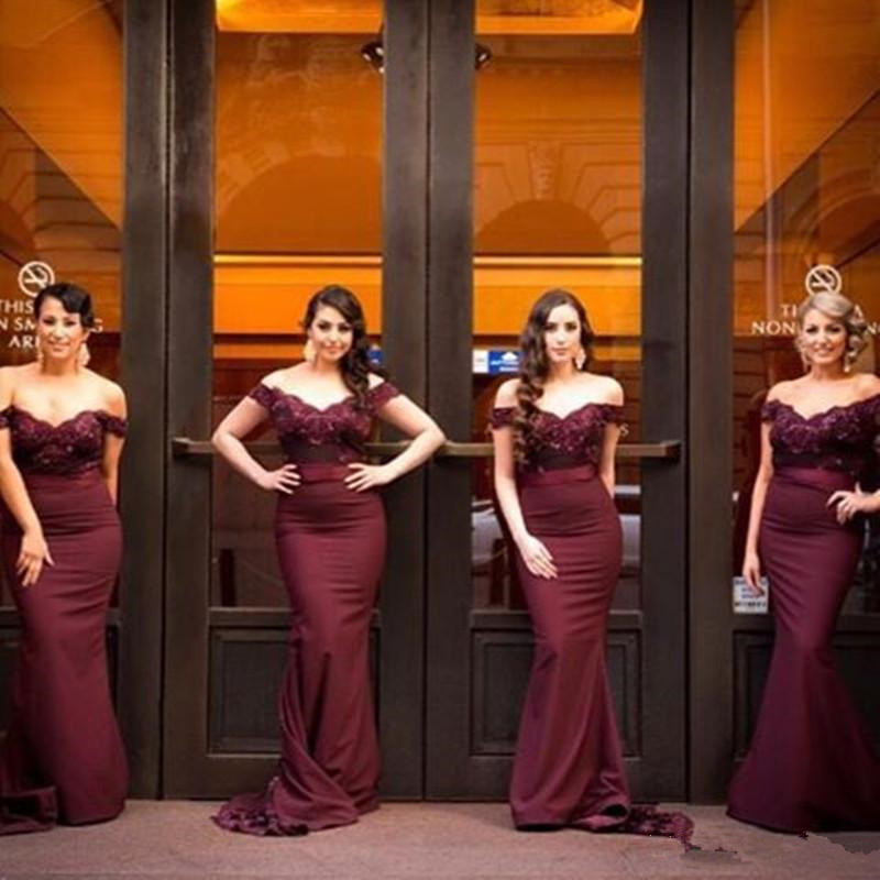 55f0f38463f Mermaid Burgundy Wine Red Bridesmaid Dresses Strapless Sleeveless Button  Sweep Train Satin with Lace with Sashes Long Bridesmaids Dresses on Storenvy