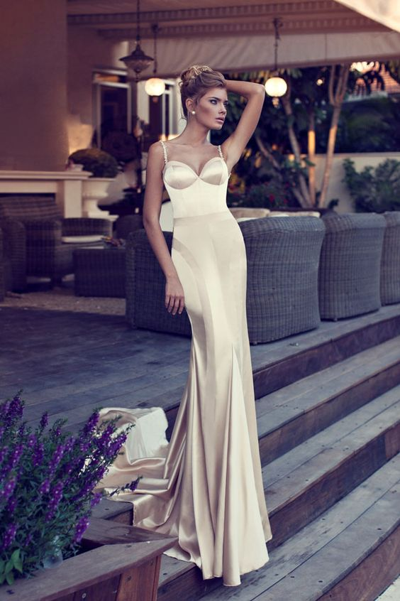 Spaghetti Champagne Evening Dresses,Mermaid Sleeveless Prom Dresses ...