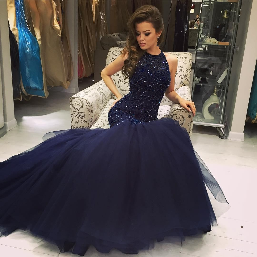 Beaded Navy Blue Mermaid Prom Dress, Formal Gown Tulle Skirt ...