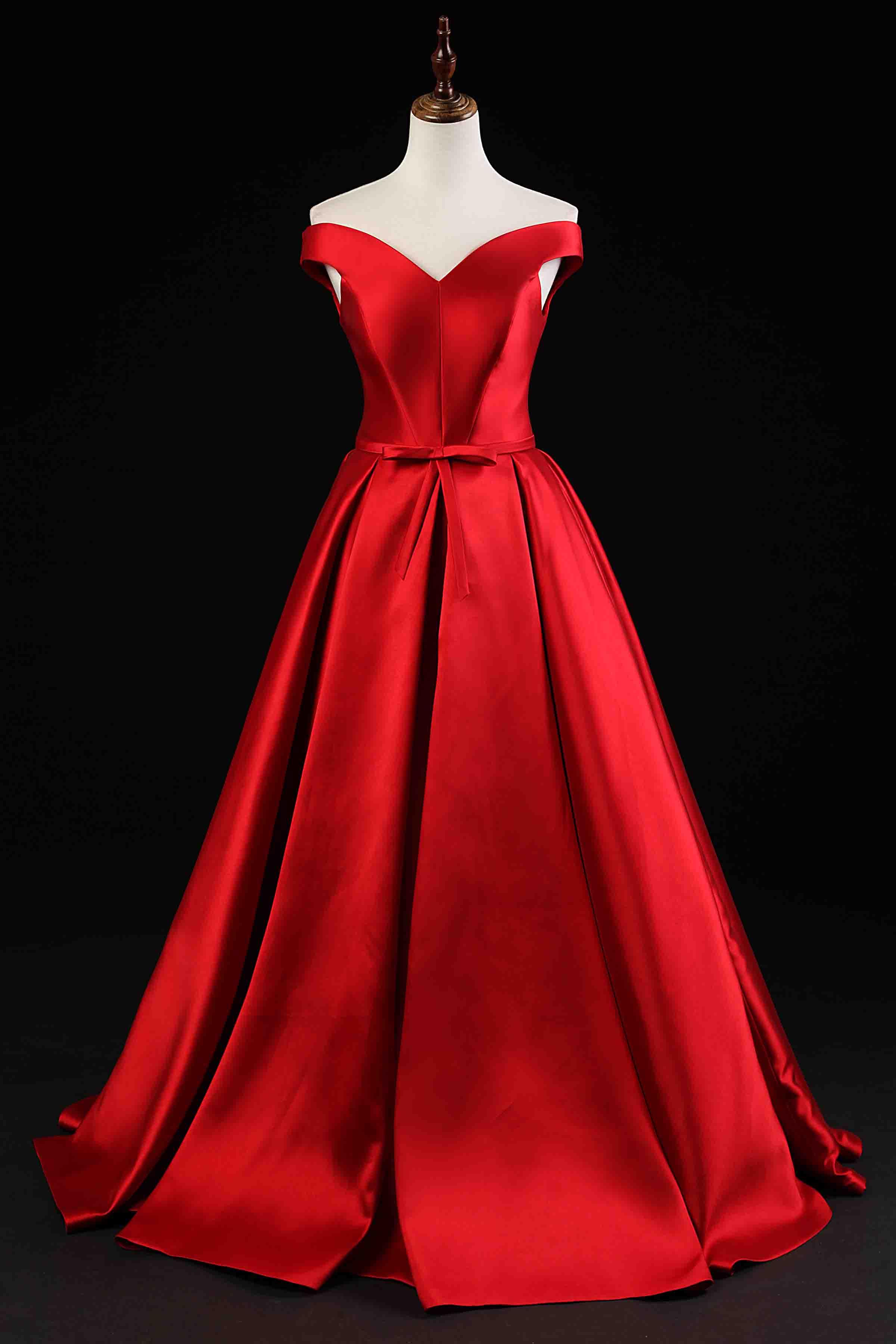 Red satin off-shoulder A-line long prom dress,lace up evening dress ...