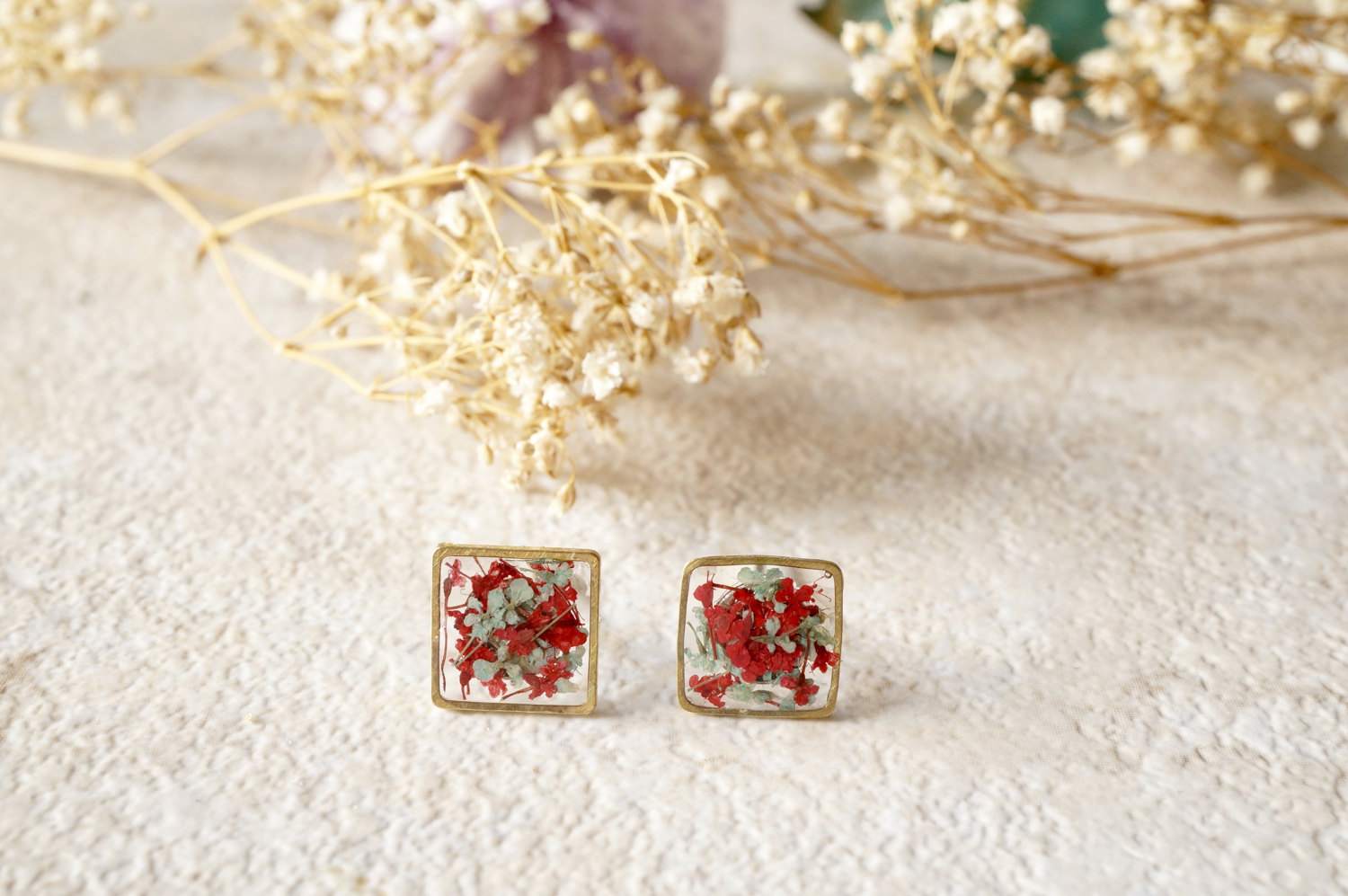 Real Dried Flowers and Resin Square Stud Earrings in Red and Mint from Ann  + Joy