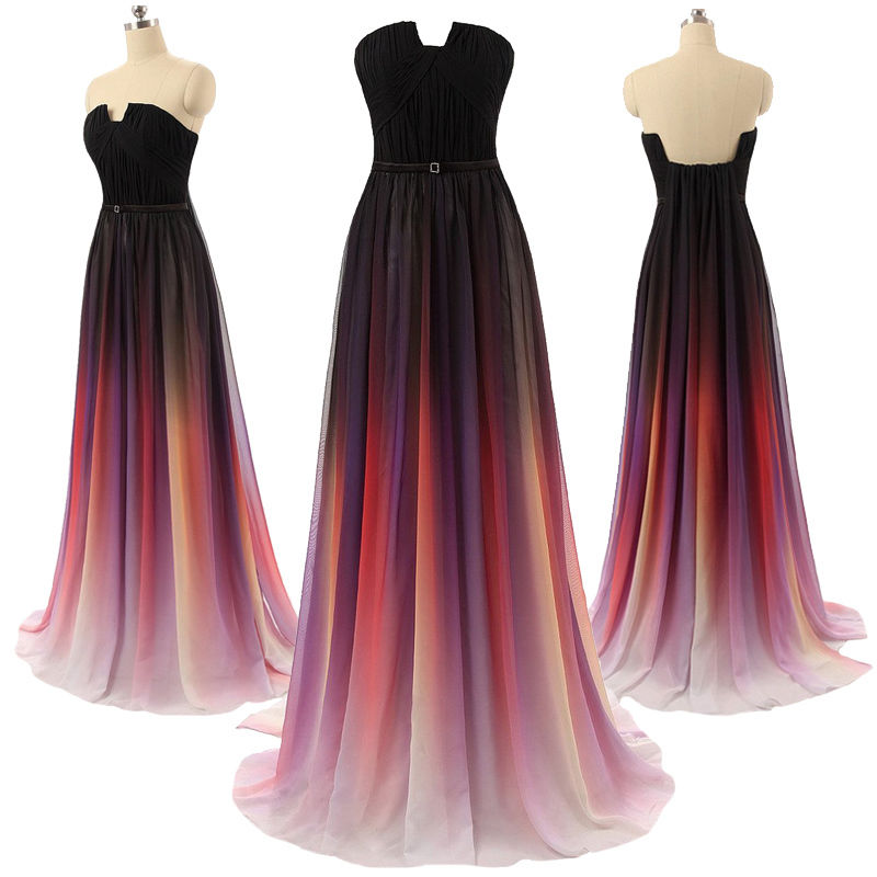 LoliPromDress Handmade Gradient Maxi Chiffon Long Formal Prom Dress ...
