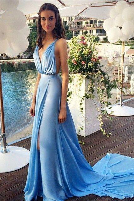 Light Blue Evening Dressdeep V Neck Prom Dresssplit Gorgeous Prom