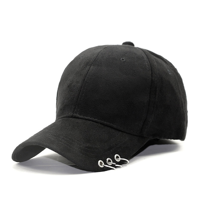 Image of Black Suede Hat with O rings