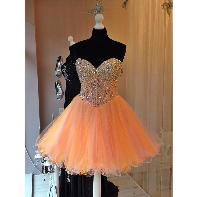 Short orange homecoming dress