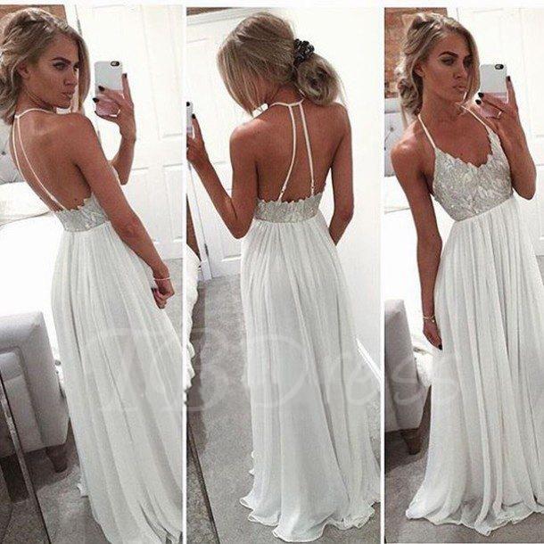 Floor Length Backless White Prom Dresses