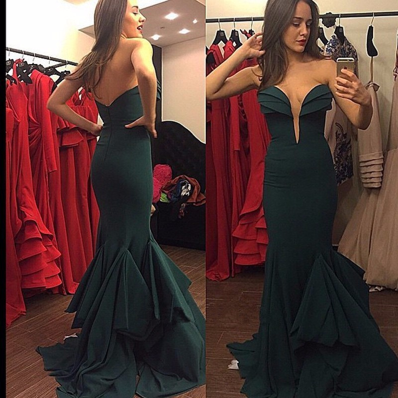 Dark Olive Green Strapless Long Prom Dress