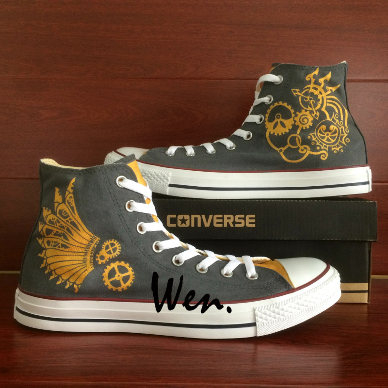 5e264b1b85db Gear Punk Original Design Gray Converse All Star Custom Design Hand ...