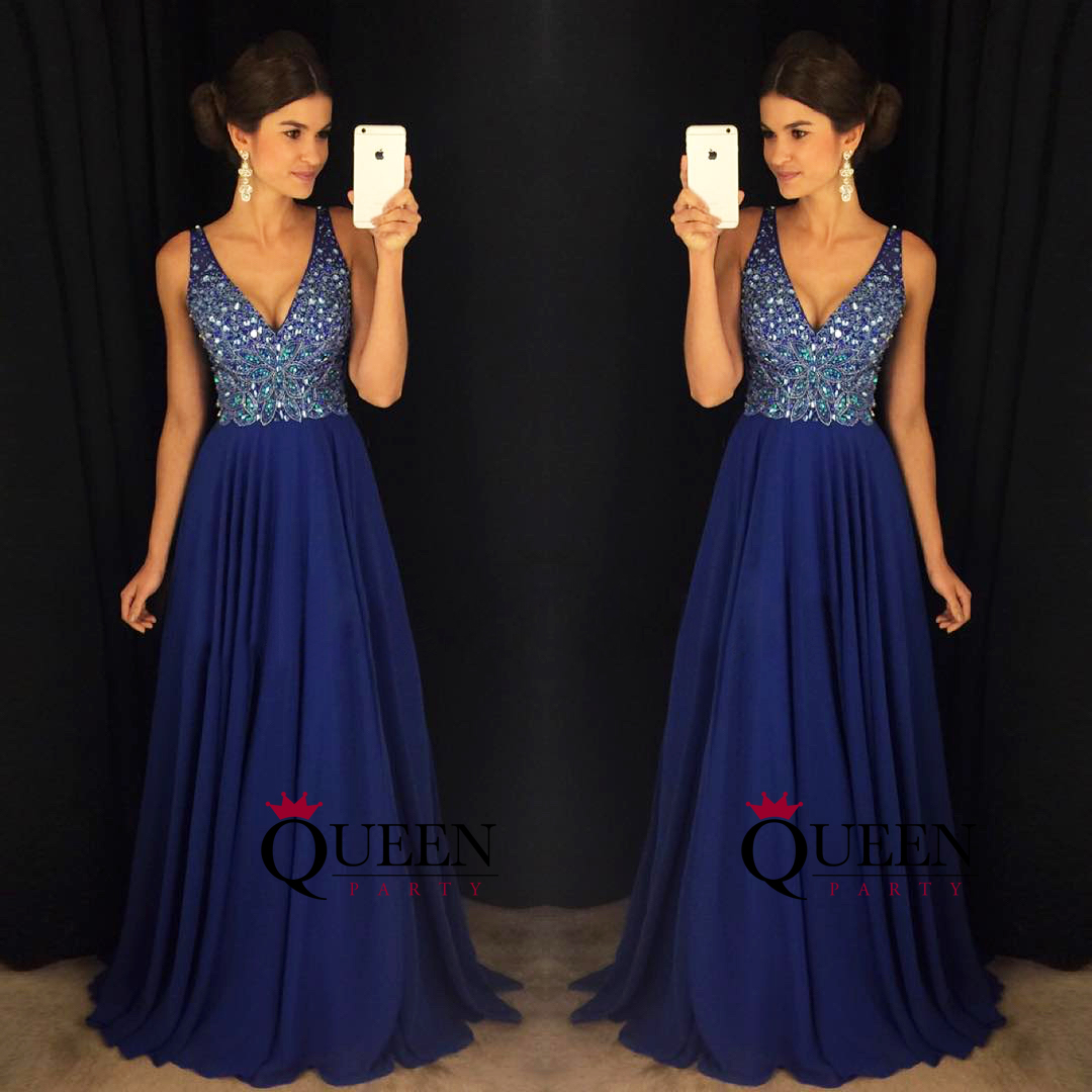 15f8e968a2f ... Hot Sale Royal Blue Chiffon Beaded Top V-neck Prom Dress With V Back  Zipper ...