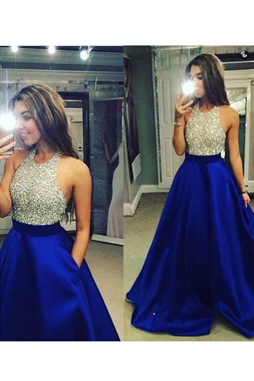 Royal Blue Long Prom Dresses,Bodice Beads Evening Prom Dress Ball ...