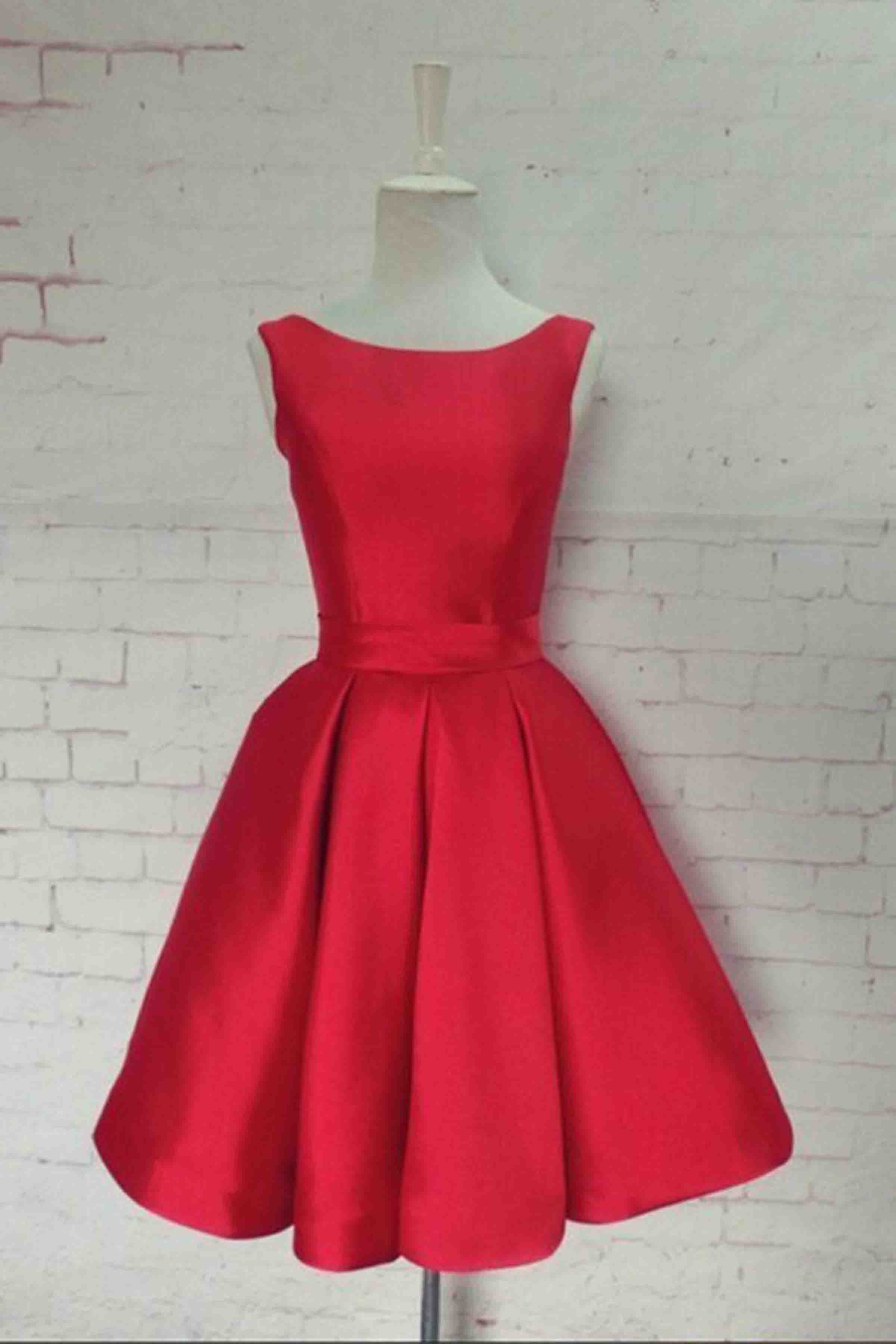 804f5c31db8 Red satin bowknot short dress