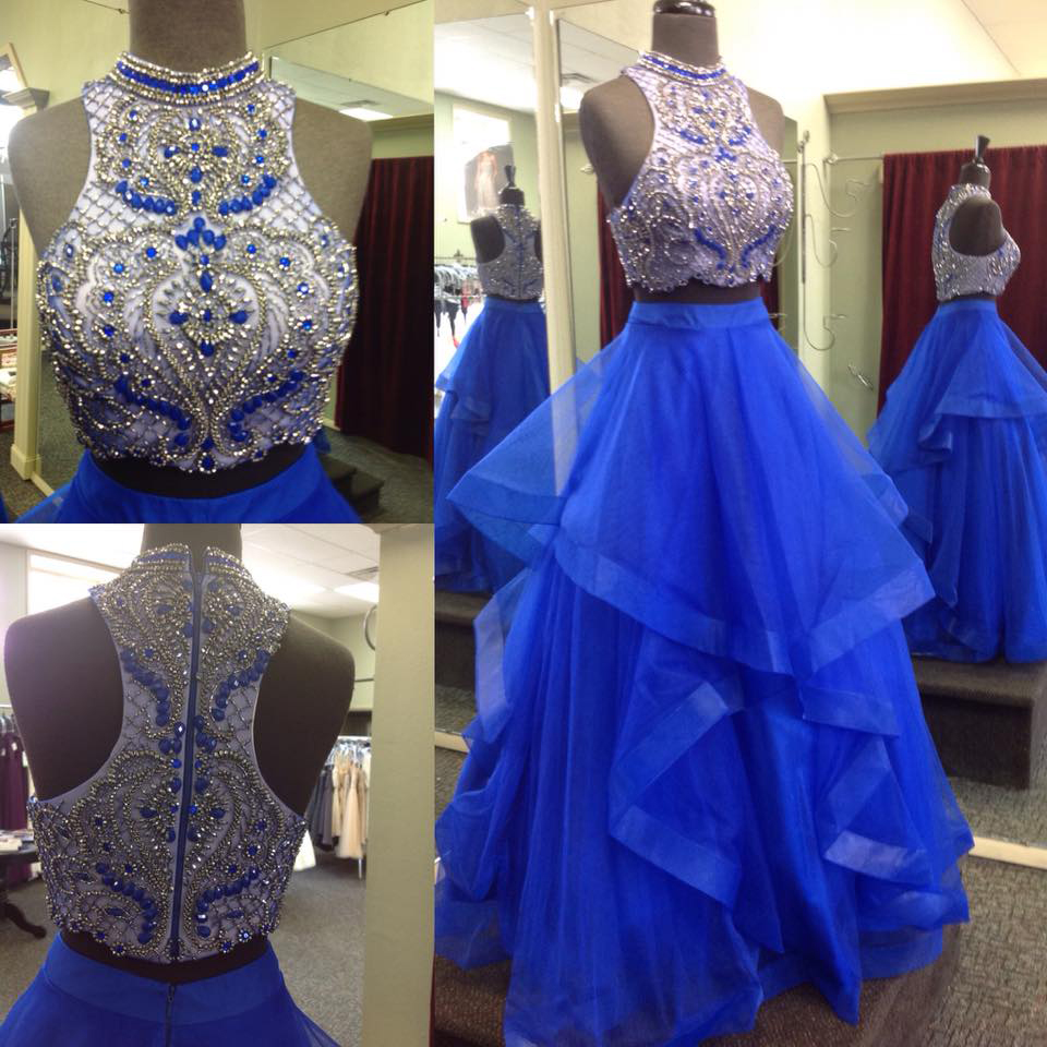 Royal Blue Two Pieces Prom Dress, Graduation Party Dresses, Prom