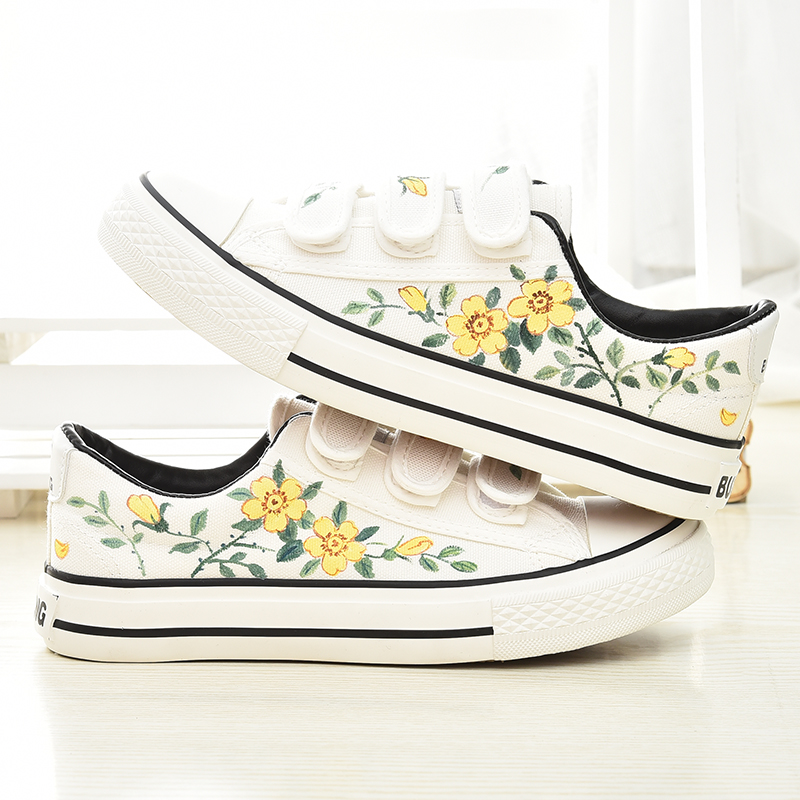Hand draw flower canvas flats preppy casual velcro shoes mg477 hand draw 20flower 20canvas 20flats 20preppy 20casual 20velcro 20shoes 20mg4772 small mightylinksfo