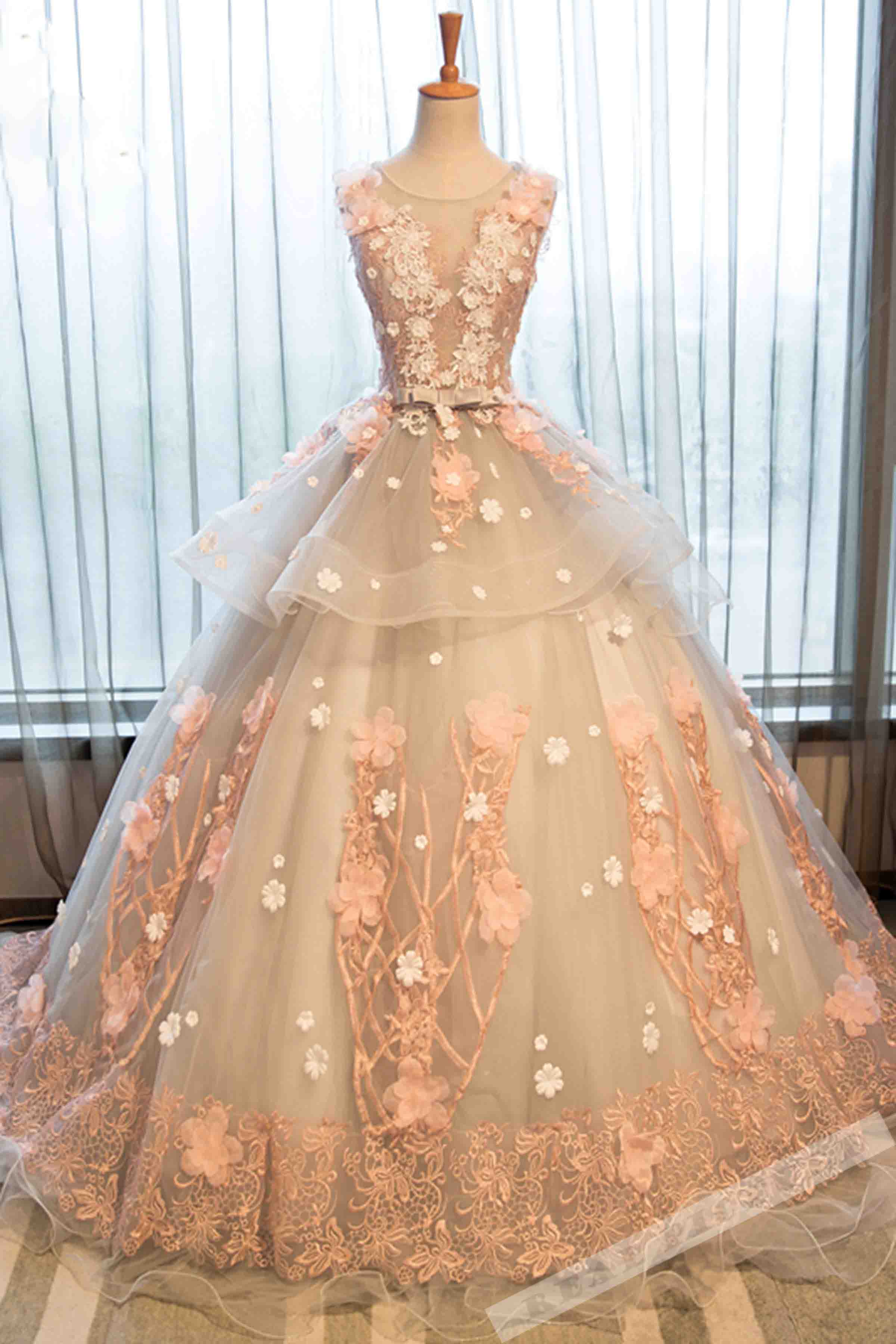 Champagne organza lace applique round neck handmade prom dress,ball ...