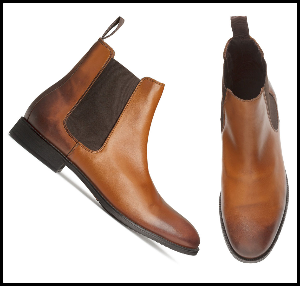 New Handmade Chelsea Brown Black Two tone leather boots, Men ankle boots, Brown & Black color boots