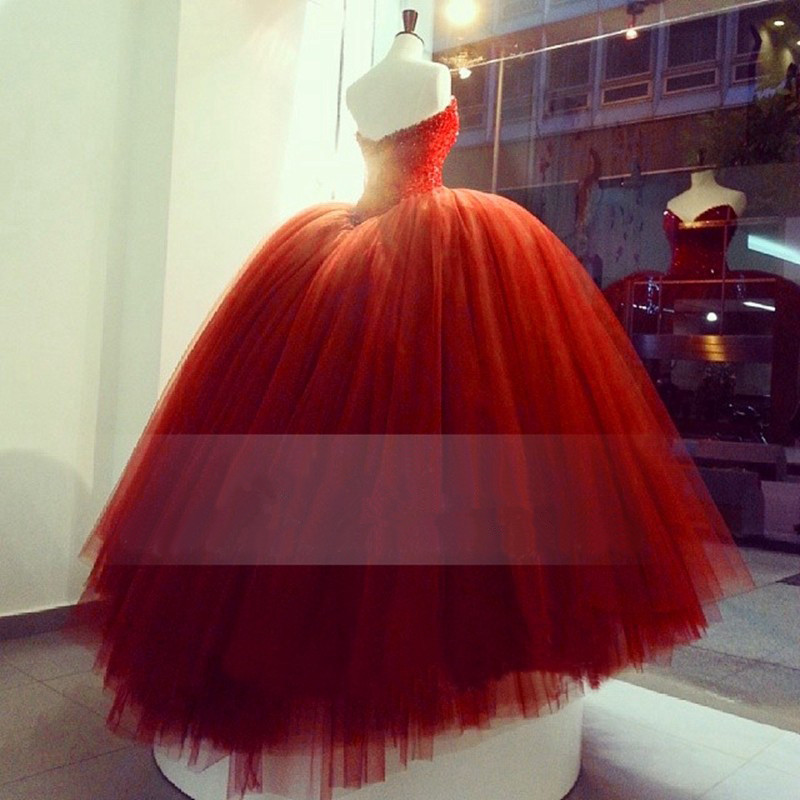 9f10703182c Luxury Heavy Beading Red Quinceanera Dresses Long Puffy Ball Gown ...
