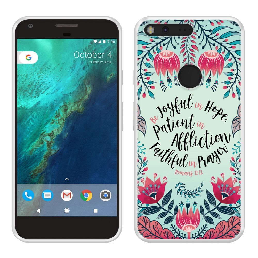 best service 4c31e 2d15f Google Pixel XL 5.5 inch HTC Silicone Case - TPU Romans 12:12 Be Joyful In  Hope (Pink) from Qwest Mobile