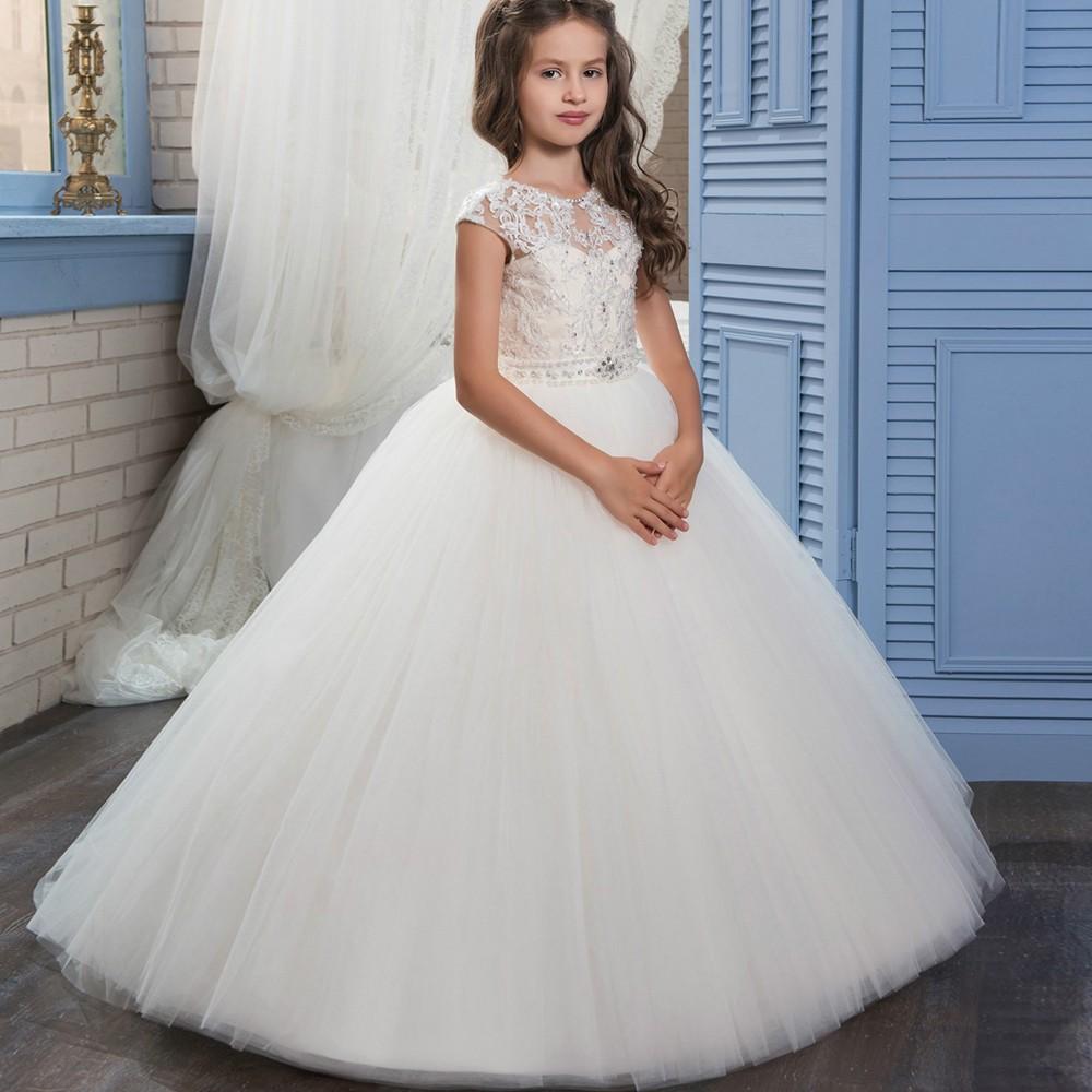 e2bea4de2af 2017 New Princess Ivory Ball Gown Flower Girl Dress Sweep Train Girls First  Communion Dress Girls
