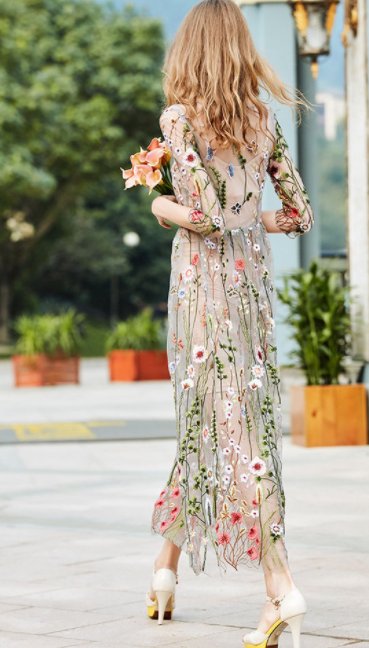 06f01e0966c Grey Floral Embroidered Two Piece Dress on Storenvy