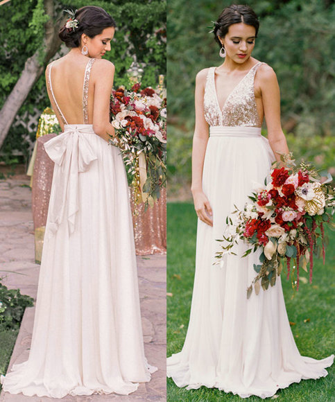 Sexy Open Back Wedding Dress,A Line Sequins Informal