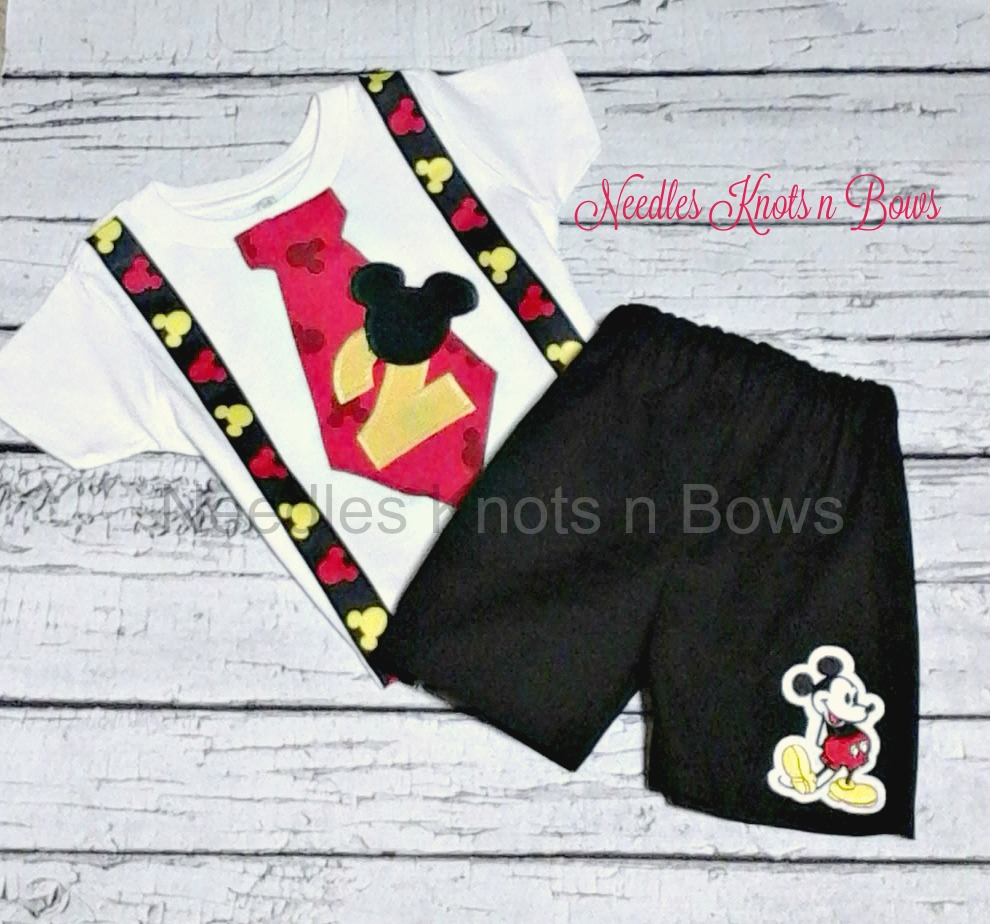 cb372fb7f1d5b Boys Mickey Mouse First Birthday Outfit, Tshirt, Black Shorts, 1st  Birthday, 2nd, 3rd, Birthday Outfit from Needles Knots n Bows