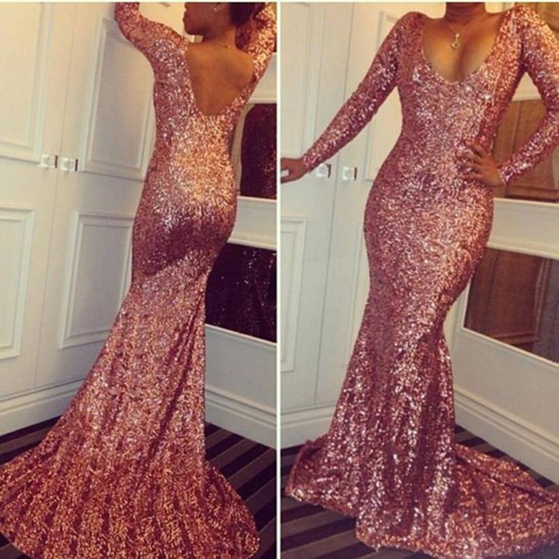 Rose Gold Prom Dress Luxury Bling Sparkle Sequins Long Sleeves ...