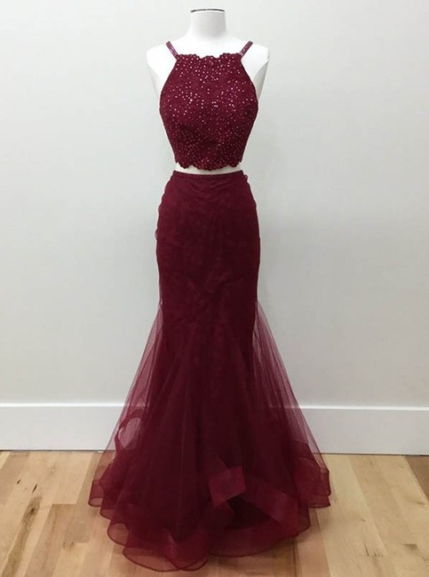 Two Piece Burgundy Prom Dresses With Spaghetti Straps
