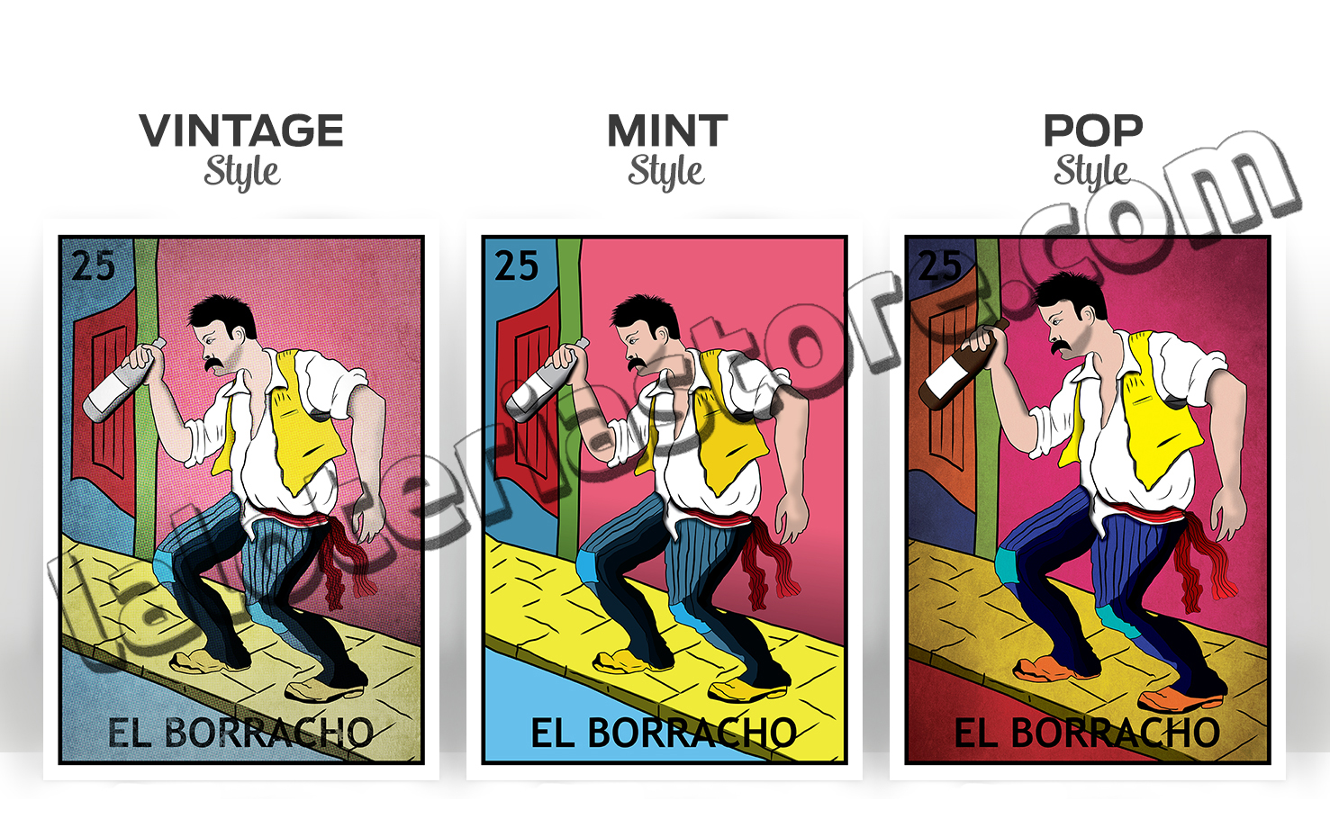 8x10 canvas el borracho loteria card stretched and ready for