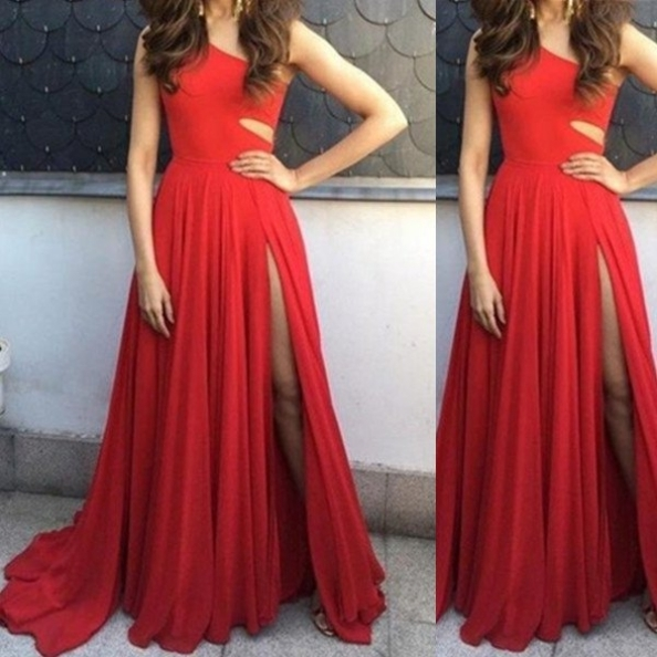 Red A-line One Shoulder Sleeveless Natural Sweep/brush Train Chiffon Prom Dresses
