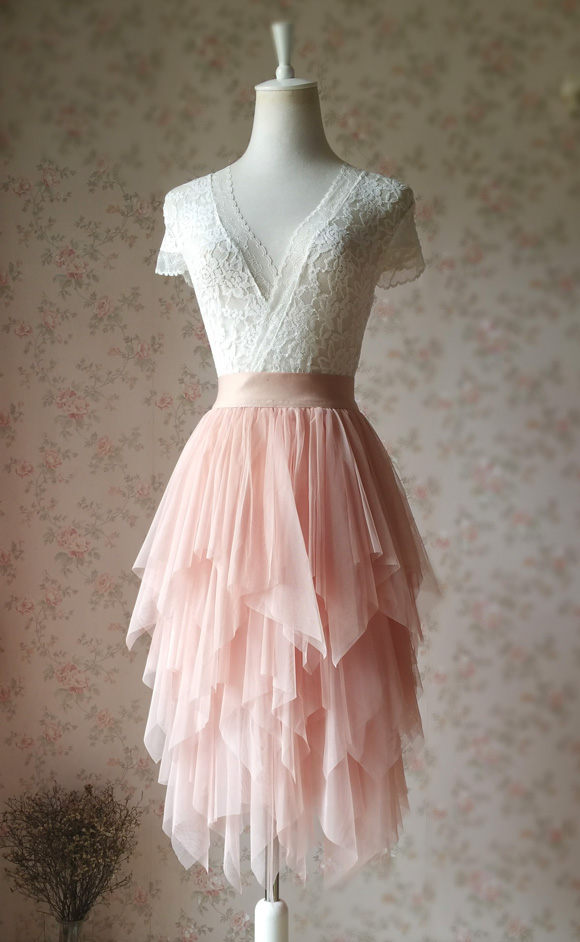 9aa0029b8e48c5 Blush Pink Midi Tulle Skirt Lady Party Skirt Elastic Waist NWT on Storenvy
