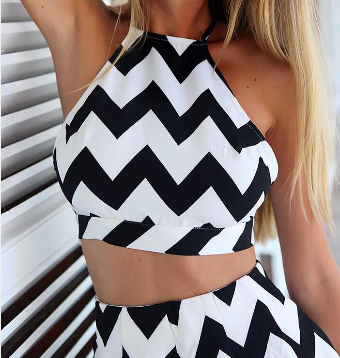 Zx63 Backless Sexy Black And White Striped Romper Short Sexy Two