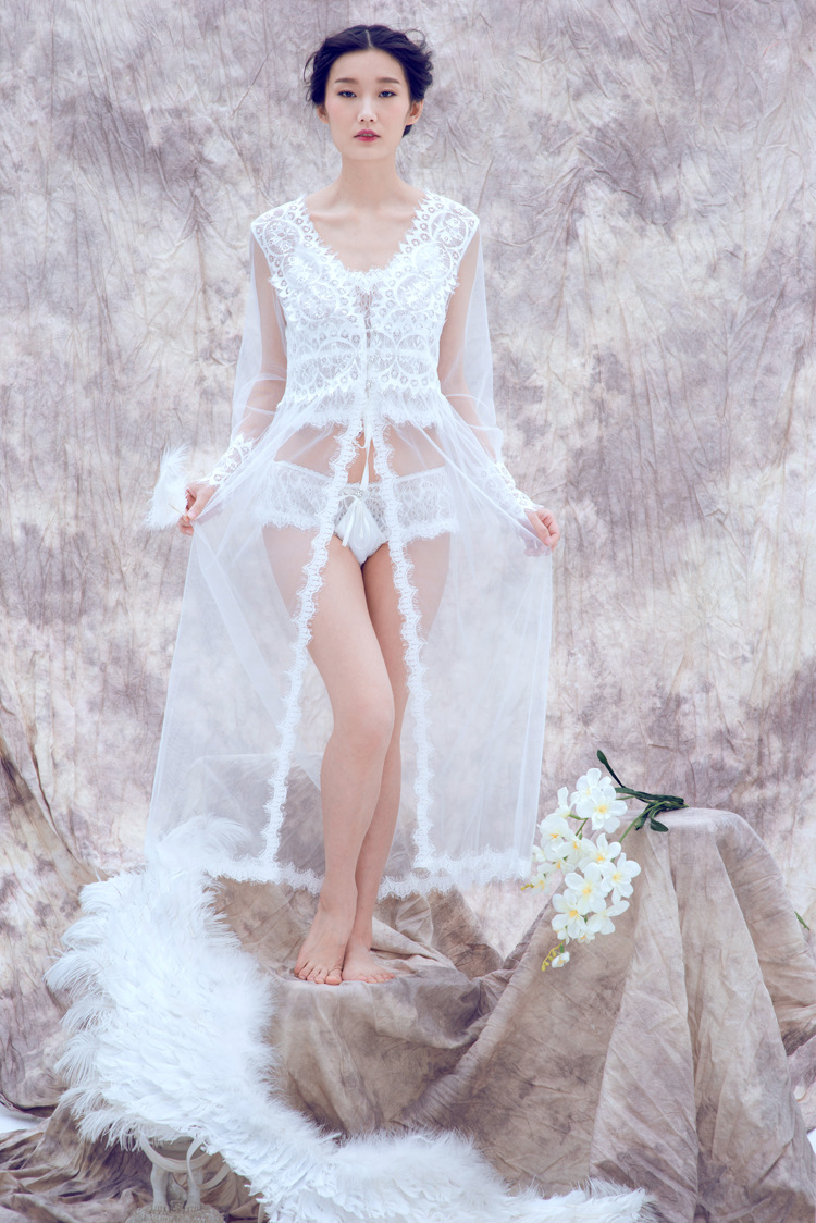 D348 Sexy See Through Long Sleeve NightgownV Neck Long Tulle NightgownCharming Lady Nightgown