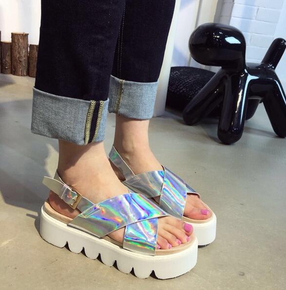 Hologram Strap Platform Sandals
