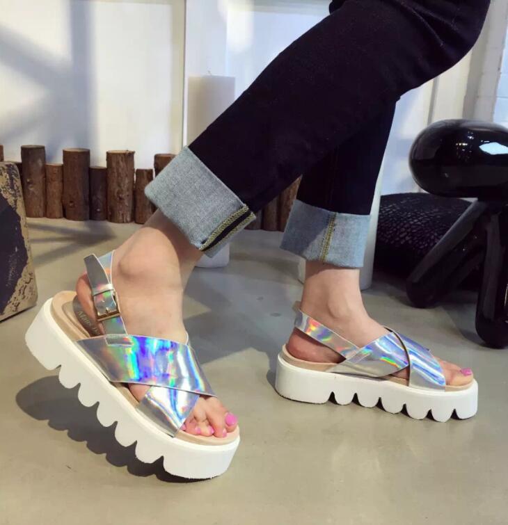 f9039e636b4 Hologram Strap Platform Sandals on Storenvy