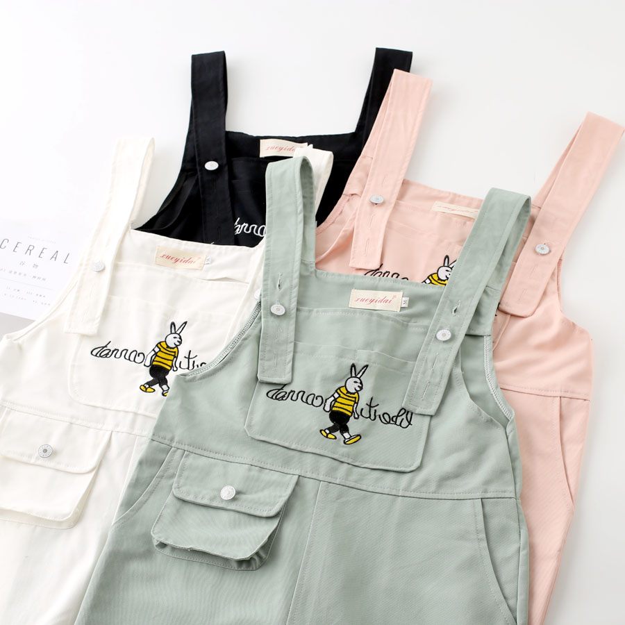 Womens Rabbit Embroidered Strappy Pocket Overalls Pants