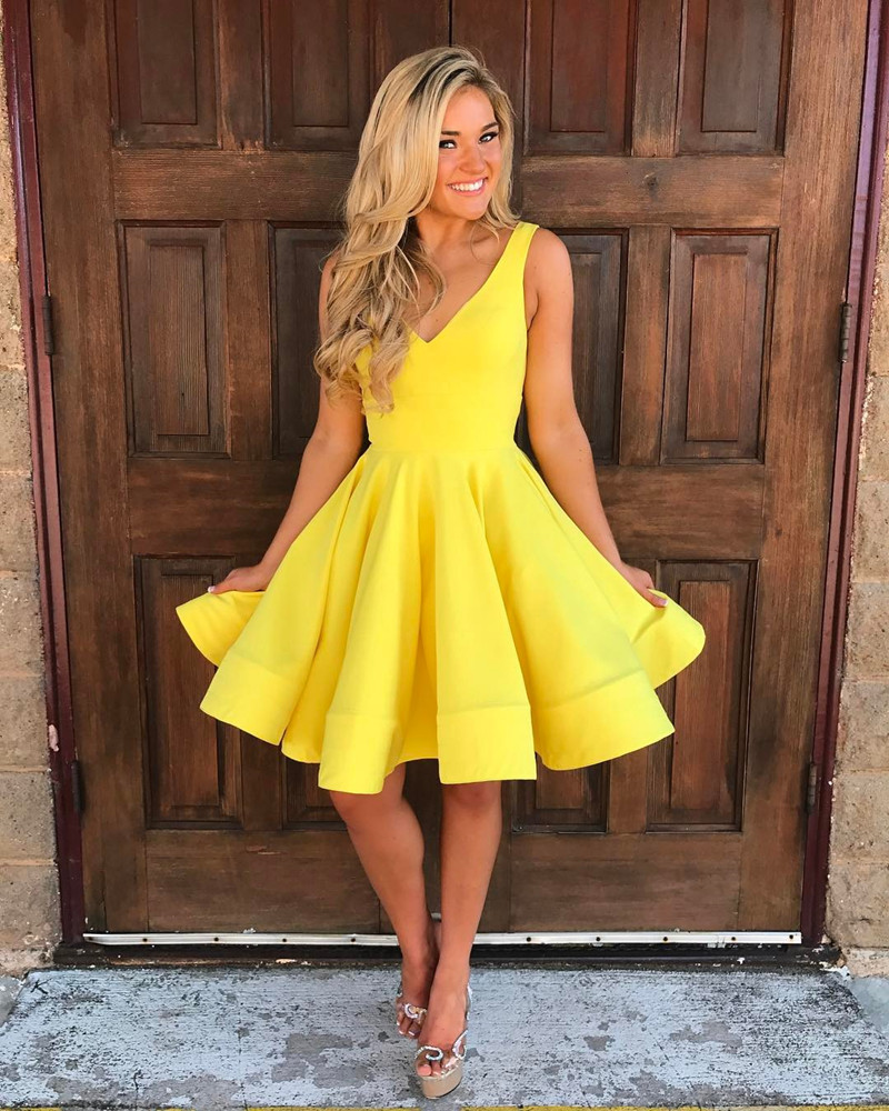 ed974d772b3fa LoliPromDress Free Shipping Yellow Short V Neck Homecoming Dress Cocktail  Party Dress