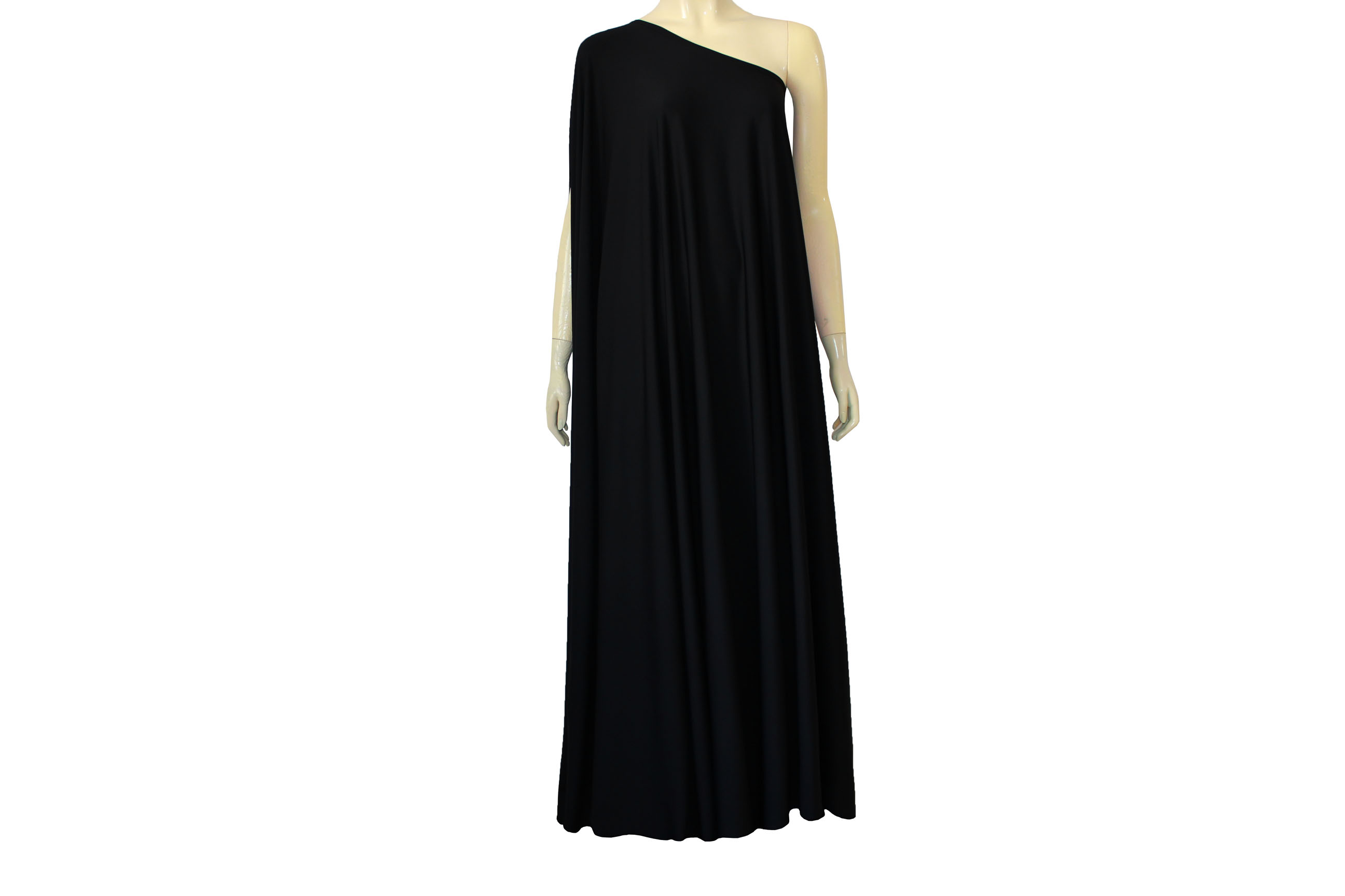 Plus size dress black long formal gown one shoulder maxi dress on ...