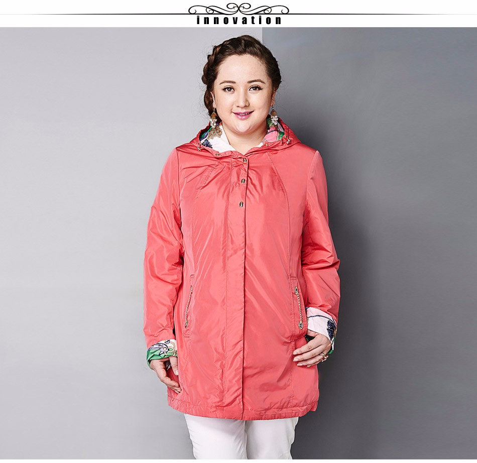Image of Women's Coat High Quality Spring Autumn Trench Coat Slim Hooded Chain Big Size Fashion AY-1670