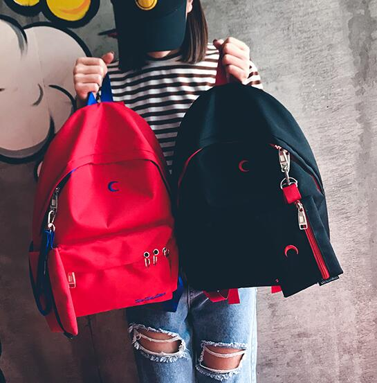 Harajuku Moon Cross Embroidered Backpack With Purse (62999651 Moooh!!) photo